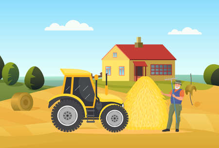 Farmer people work in village rural landscape vector illustration. Cartoon elderly man worker character holding pitchfork, standing next to tractor agriculture machine and haystack on field background