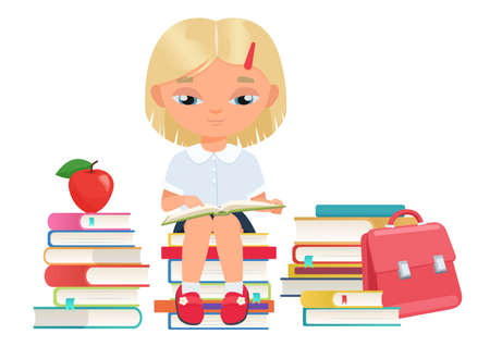 Happy girl student reading open book in library, education and learning vector illustration. Cartoon schoolgirl character sitting on stack of textbooks and studying, cute kid reader isolated on white