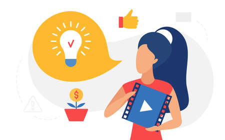 Online education, lightbulb lamp concept vector illustration. Cartoon woman character holding video player with business training course podcast icon to get idea and inspiration, internet learning