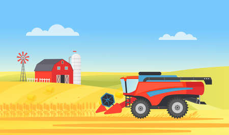 Wheat farm harvester working in village rural landscape, agriculture work vector illustration. Cartoon agricultural farmer machine harvesting on countryside farmland field with barn, mill background