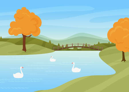 Swans swim in river, rural autumn nature landscape vector illustration. Cartoon wild birds on water surface, bridge over river or lake, trees with yellow autumnal leaves stand by riverside background Ilustração