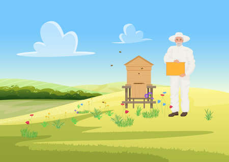 Beekeeper people work in apiary, farm apiculture agriculture, honey gathering from wooden beehive vector illustration. Cartoon man in protective uniform beekeeping, holding honeycomb background