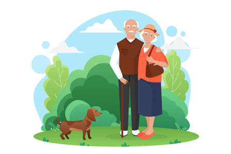 Old people senior couple walks with a small dog in the park vector illustration