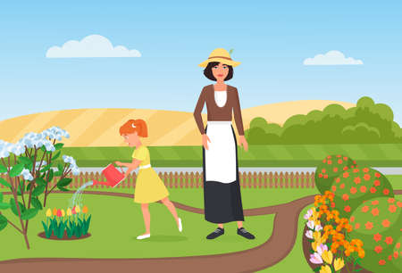 Family farmers people work, water flowers in farm garden vector illustration. Cartoon girl and mother gardener characters working and gardening, happy little daughter holding watering can background Ilustración de vector