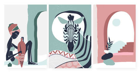 African boho people and zebra animal, summer poster wall art print vector illustration set. Trendy minimal bohemian art in simple geometric lines, aboriginal tribe woman portrait template background Ilustrace