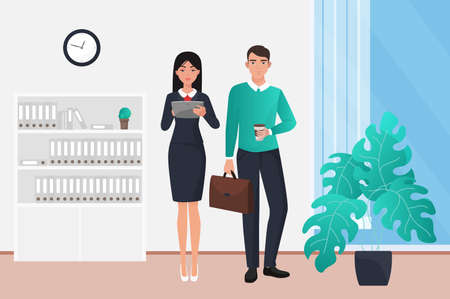 Business teamwork, businesspeople standing together vector illustration. Cartoon young businessman holding paper cup with coffee and briefcase, girl working with tablet in office interior background