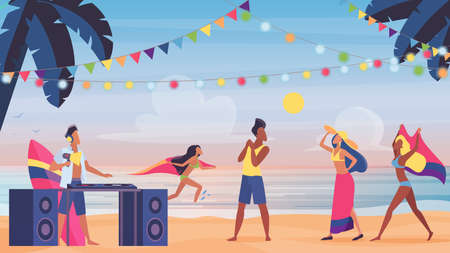 People on summer sea beach fun party, tropical island vacation vector illustration. Cartoon crowd of friend characters in swimsuit and beachwear dancing together, seaside swim music party with dj Ilustrace