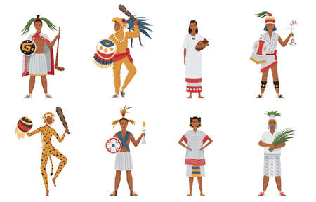 Aztec tribe people of ancient civilization set vector illustration. Cartoon man woman characters in traditional clothes and headgear holding weapon or ritual objects collection isolated on white