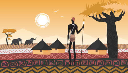 Africa landscape, village and African people vector illustration. Cartoon man aborigine with spear standing near houses in abstract geometric savanna, sun in sky, trees and elephant animals background