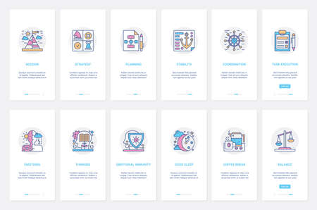 Business strategy, conditions for successful businessman work vector illustration. UX, UI onboarding mobile app page screen set with line planning mission stability, team coordination, coffee break