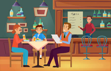 Family people eat food in cafe vector illustration. Cartoon young mother father and boy son characters eating dinner, sitting at table and dining in interior of cafeteria or restaurant background