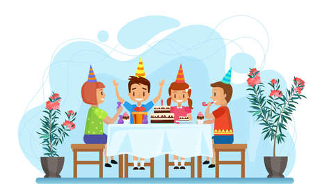 Happy children celebrate birthday party vector illustration. Cartoon boy girl characters sitting at festive table with chocolate cake, child friends on holiday celebration at home isolated on white