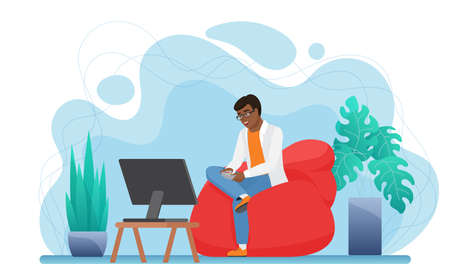 People play video game console at home vector illustration. Cartoon young man gamer character sitting in comfortable armchair, holding gaming controller joystick in hands and playing isolated on white