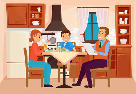 Family people eat dinner at home kitchen interior vector illustration. Cartoon young mother father and boy kid characters eating homemade meal, sitting at table together, parents and son communication