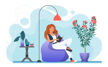 Girl reading book at home vector illustration. Cartoon young woman sitting in modern cozy armchair under lamp to read book from bookstore or library, weekend relaxation alone isolated on white