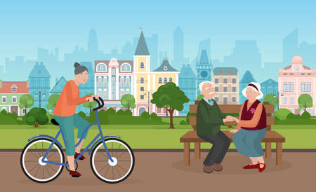 People spend time in city park vector illustration. Cartoon cityscape with elderly couple characters sitting on bench together, holding hands, woman cycling, riding bicycle on street road background