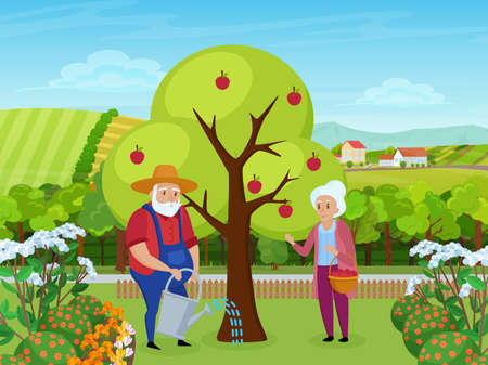 Elderly couple people work in farm garden vector illustration. Cartoon senior man character in hat working, holding watering can to water apple tree, woman standing with basket of fruits background Ilustrace