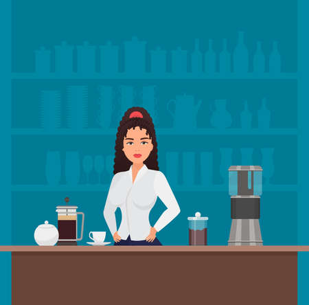 Barista girl in coffee shop cafe interior vector illustration. Cartoon beautiful young woman character standing at table with coffee machine and cups, working in modern bar cafeteria background