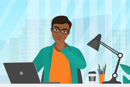 People think, businessman thinking vector illustration. Cartoon young serious man manager character working, sitting at office table with laptop in thoughts in search of business work idea background