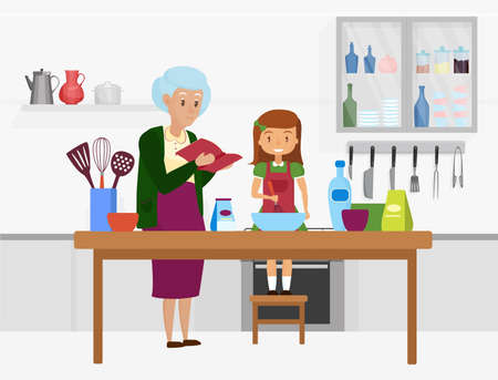 Happy family cook food together vector illustration. Cartoon grandmother and granddaughter characters cooking in home kitchen room interior, grandma holding recipe book, girl with whisk background