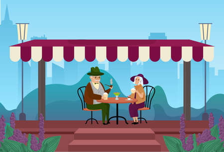 Elderly couple people drink coffee together in city street outdoor cafe vector illustration. Cartoon senior man woman characters meeting, drinking coffee, eating dessert and talking background