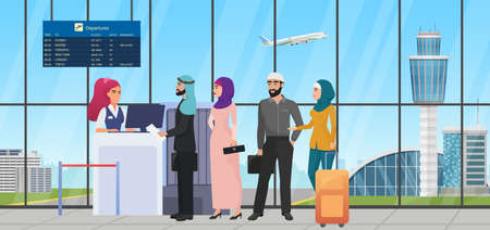 Air flight check queue with saudi arab people vector illustration. Cartoon muslim tourist characters standing in line with travel bag, airline worker checking ticket at airport gate desk background