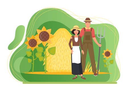 Farmers people and farm village landscape with haystack and sunflowers vector illustration. Cartoon couple villager characters standing together, man holding pitchfork, hugging woman isolated on white
