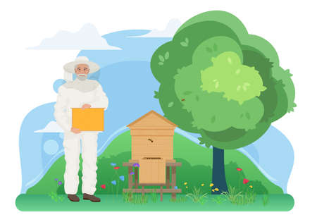 Beekeeping apiculture, farm apiary work in village vector illustration. Cartoon elderly beekeeper villager holding honeycomb to collect honey, apiarist character working in nature garden background