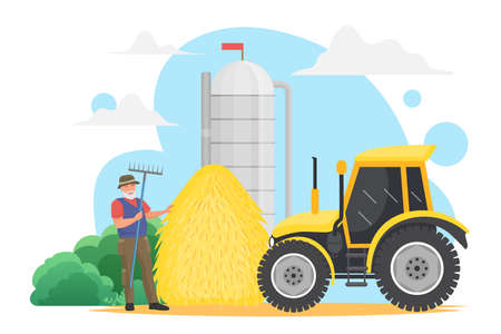 Farmer people work in village, grain harvest agriculture technology vector illustration. Cartoon happy elderly man worker character holding pitchfork, standing near farm silo tank storage and tractor Ilustrace