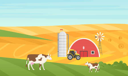 Eco village countryside rural landscape vector illustration. Cartoon cow animals grazing on green meadow, house barn, farm tractor and grain silo tank storage tower on farmland fields background