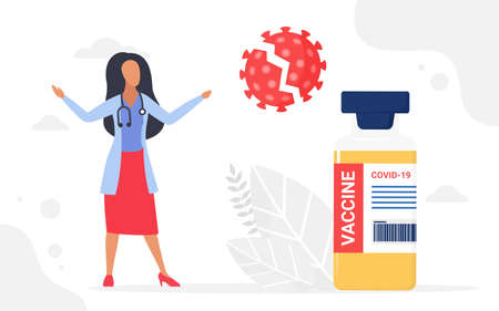 Kill coronavirus cell, vaccination medical campaign vector illustration. Cartoon doctor woman character with stethoscope standing next to vaccine big bottle, killing virus, medicine healthcare concept