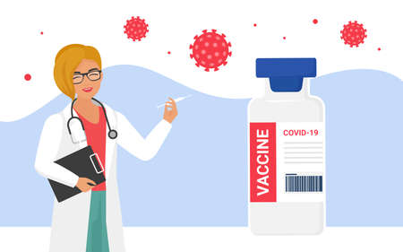 Vaccination, coronavirus protection concept with doctor vector illustration. Cartoon happy woman hospital worker character holding syringe injection with vaccine dose, protecting from virus background