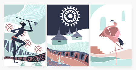 African village, traditional ethnic pattern ornament in wall art decor vector illustration. Cartoon flamingo, aboriginal tribe people holding spear, native folk hut houses in african wallpaper set