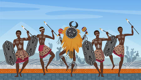 African people dance on traditional ethnic pattern ornament in Africa vector illustration. Cartoon aborigine warrior and shaman tribal dancers characters dancing ethnic native dances background