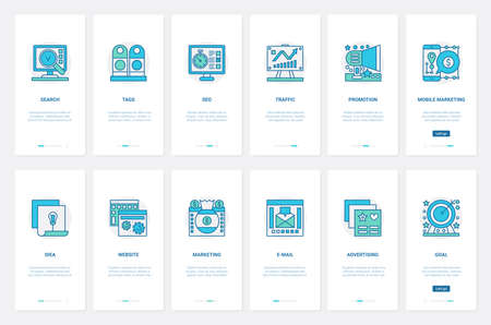 Seo, tag, web traffic internet promotion for business projects, online marketing technology vector illustration. UX, UI onboarding mobile app page screen set with line advertising website ideas Ilustrace