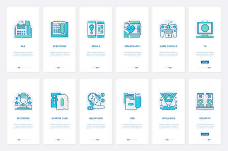 Electric devices for home and office vector illustration. UX, UI onboarding mobile app page screen set with line desktop mobile phone fax, smart watch, game console joystick, microphone and headphones