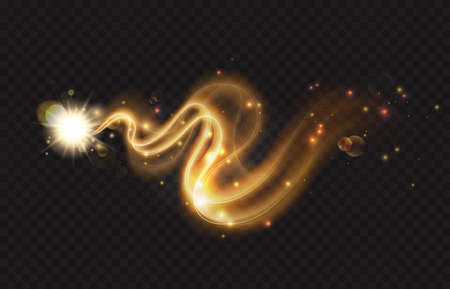 Glitter sparkle star trail, light effect, abstract waves flow vector illustration. Golden magic comet meteor with stardust plume flying, dynamic curve swirl motion glow on dark transparent background