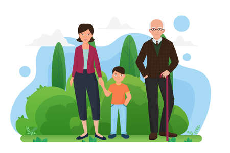 Family people walk in summer city park together vector illustration. Cartoon young mother holding hand of boy son, grandfather with cane walking and smiling, family generation isolated on white