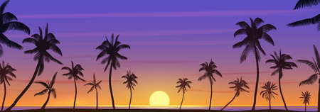 Colorful exotic tropical ocean sunset with palm trees landscape panorama vector illustration Ilustrace
