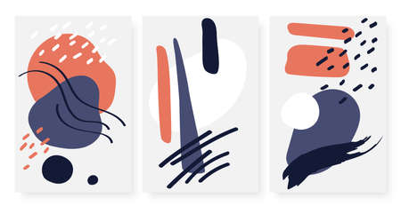 Abstract modern simple curves shapes, minimal dot lines vector illustration set. Minimalist trendy contemporary design, abstraction art template background for social media stories