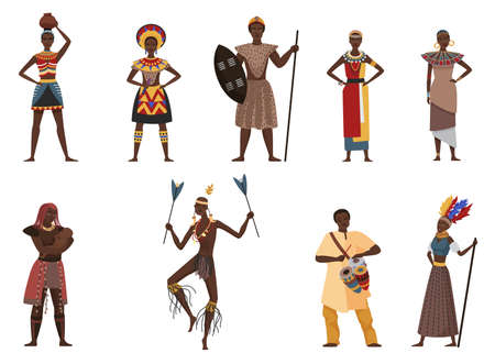 African tribe people, native village ethnicity vector illustration set. Cartoon young beautiful woman character in traditional tribal ethnic clothes dress, man with spear collection isolated on white