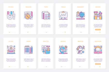 School discipline research, supplies tools for student and education vector illustration. UX, UI onboarding mobile app page screen set with line learning theory and practice of physics history biology