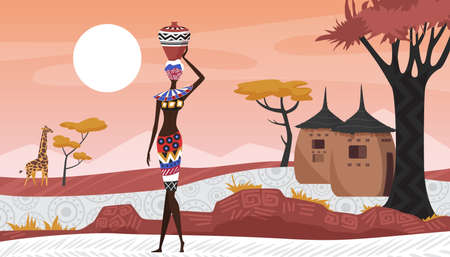 Africa rural landscape with abstract geometric pattern, village and African people vector illustration. Cartoon woman with jug, afro character in tribal traditional costume near houses huts background