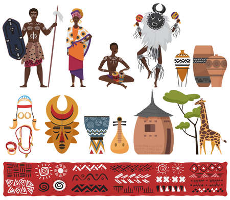 African ethnic tribe people, tribal elements culture, travel to South Africa set vector illustration. Cartoon African native pattern, characters in traditional dress costume, totem isolated on white