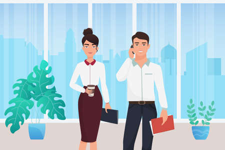 Business people stand in office interior vector illustration. Cartoon young businesspeople posing together on meeting, businessman character talking on mobile phone, woman with coffee, document folder Ilustrace