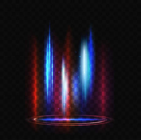 Light effect of abstract futuristic teleport portal for travel in future vector illustration. Magic blue red glow of circular energy 3d transport tunnel with glowing shiny particles on dark background Ilustrace