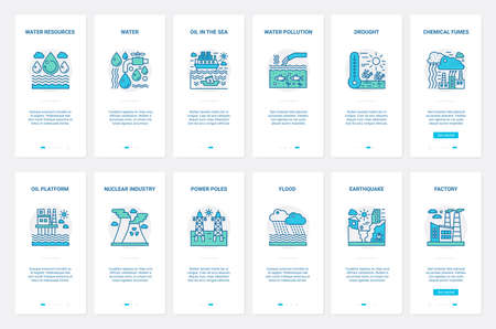 Pollution of water air nature resources vector illustration. UX, UI onboarding mobile app page screen set with line nuclear, oil refining chemical industry polluting environment with smoke fumes smog
