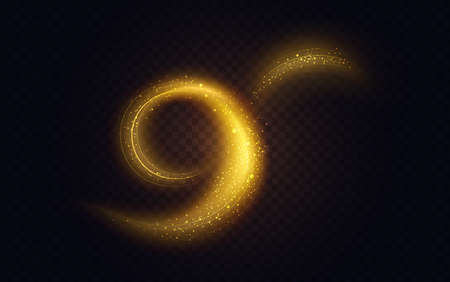 Golden luminous swirl shape, abstract light effect vector illustration. Luxury sparkling neon trail of flying stars, shiny magic swirling gold spirals, sparkle motion on transparent black background Ilustrace