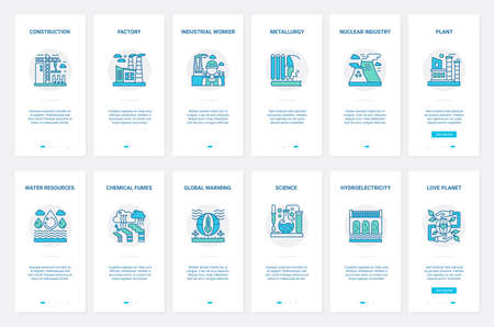 Construction industry, electricity technology, nature resources vector illustration. UX, UI onboarding mobile app page screen set with line metallurgy, nuclear and hydroelectric power plants pollution Ilustrace