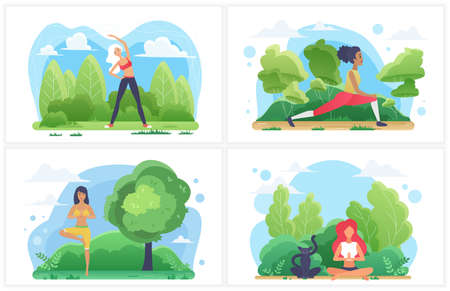 People in outdoor sport activity, healthy lifestyle vector illustration set. Cartoon active sporty young woman character doing yoga workout in park, stretching for body health, meditation practice